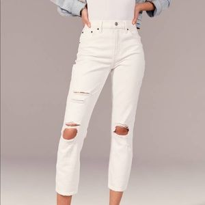 White High Rise Mom Jeans